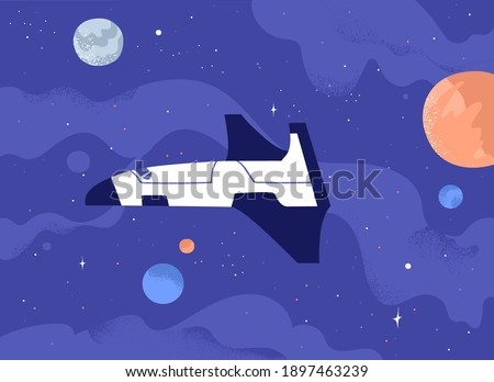 Futuristic galactic spaceship flying in open space among planets and stars. Cosmos exploration concept. Touristic spacecraft in starry universe. Colorful flat textured vector illustration