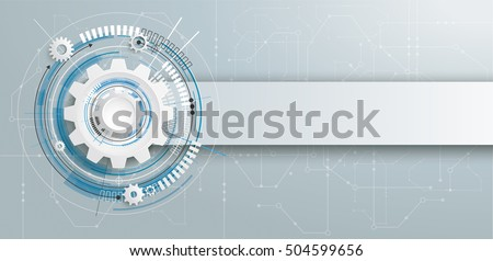 Futuristic gear wheel with electronic schematic and banner on the gray background. Eps 10 vector file.