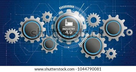 Futuristic gear wheels with the text Industry 4.0. Eps 10 vector file.