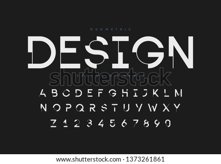 Futuristic geometric font with numbers. Eps10 vector.