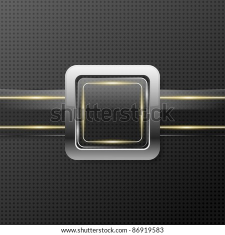 Futuristic glass plate on metal background