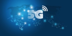 Futuristic Global 5G Mobile Networks Concept with Cluster of Glowing Nodes and World Map - High Speed, Broadband Mobile Telecommunication and Wireless Internet Design