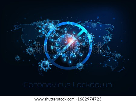 Futuristic global lockdown due to coronavirus COVID-19 disease with glowing low polygonal virus cells, padlock and world map on dark blue background. Modern wire frame mesh design vector illustration.