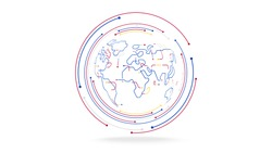 futuristic globe data network elements abstract background