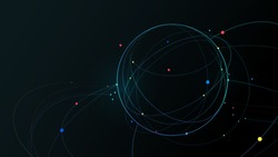 Futuristic globe data network elements abstract dark background