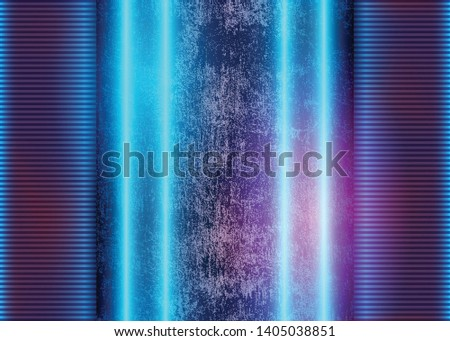 Futuristic Glow Background with Blue Neon Lights on Concrete Grunge Wall, Abstract Cosmic Lines, Cosmic Conceptual Art Graphic Design. Eps10 Vector Illustration - Vector