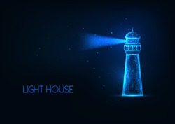 Futuristic glowing lo polygonal lighting house with light beam isolated on dark blue background. Modern wire frame mesh design vector illustration.