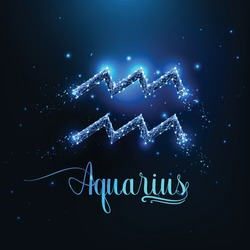 Futuristic glowing low polygonal Aquarius zodiac sign concept on dark blue background.