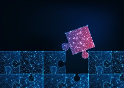 Futuristic glowing low polygonal blue jigsaw puzzle game background with one red matching missing piece. Strategy, problem solving concept. Modern wire frame mesh design vector illustration.
