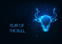 Futuristic glowing low polygonal bull, ox head. Taurus horoscope sign isolated on dark blue background. Modern wire frame mesh design vector illustration.