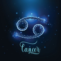 Futuristic glowing low polygonal Cancer zodiac sign concept on dark blue background.