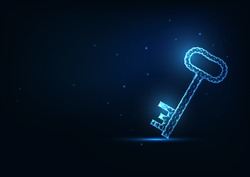 Futuristic glowing low polygonal door key isolated on dark blue background. Modern wireframe mesh design vector illustration.