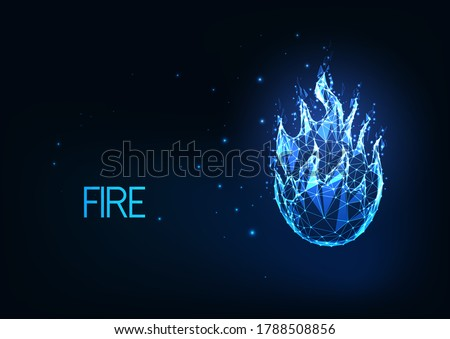 Futuristic glowing low polygonal  fire, campfire, bright blue flame isolated on dark blue background. Modern wire frame mesh design vector illustration.