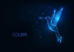 Futuristic glowing low polygonal flying colibri bird, hummingbird isolated on dark blue background. Modern wireframe mesh design vector illustration.