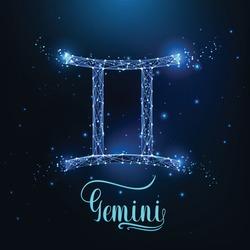 Futuristic glowing low polygonal Gemini zodiac sign concept on dark blue background.