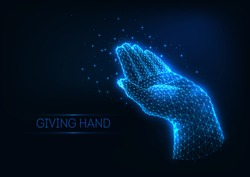 Futuristic glowing low polygonal giving human hand made of lines, stars, light particles isolated on dark blue background. Charity, care, help concept. Modern wireframe mesh design vector illustration