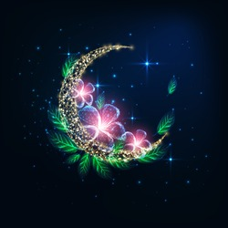 Futuristic glowing low polygonal golden crescent moon decorated with pink flowers and green leaves on dark blue night background. Modern wire frame mesh design vector illustration.