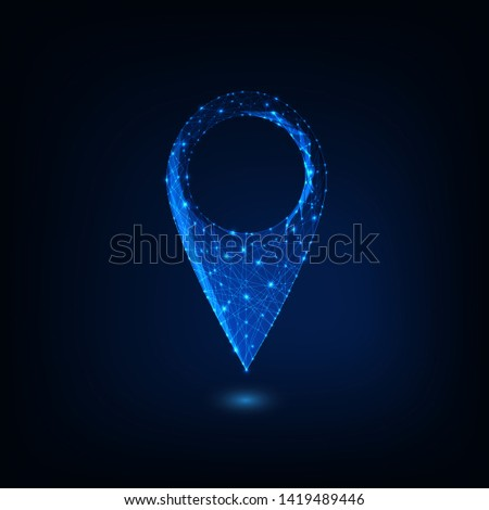 Futuristic glowing low polygonal gps symbol isolated on dark blue background. Navigation, pin map icon. Modern design vector illustration.