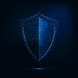 Futuristic glowing low polygonal guard shield symbol isolated on dark blue background. Cyber security. data protection concept. Modern wireframe design vector illustration.