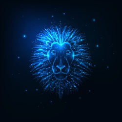 Futuristic glowing low polygonal lion head isolated on dark blue background. Modern wire frame mesh design vector illustration.