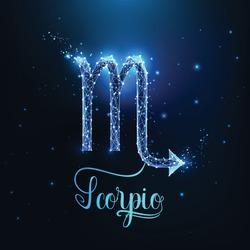 Futuristic glowing low polygonal Scorpio zodiac sign concept on dark blue background.