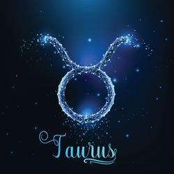 Futuristic glowing low polygonal Taurus zodiac sign concept on dark blue background.