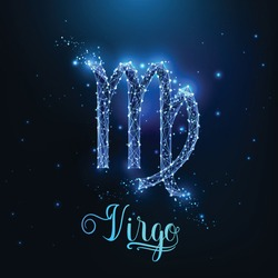 Futuristic glowing low polygonal Virgo zodiac sign concept on dark blue background.
