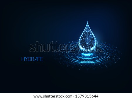Futuristic glowing low polygonal water drop with splash ripples made of lines, dots, light particles isolated on dark blue background. Modern wire frame mesh design vector illustration.