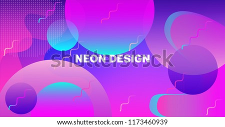 Futuristic Gradient Overlay Bright Neon Vector Pattern. Landing Page Iridescent Cool Geometric Design. Abstract Geo Neon Glitch Liquid Color Cover. Music Banner, Business Background, Poster