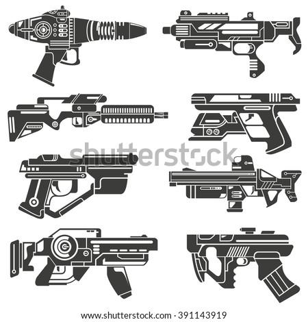 futuristic gun icons set  sci