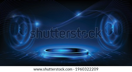 Futuristic hall of digital technology with glowing blue pedestal podium stage layout for hi tech showcase.Digital tech concept.Vector illustrations.