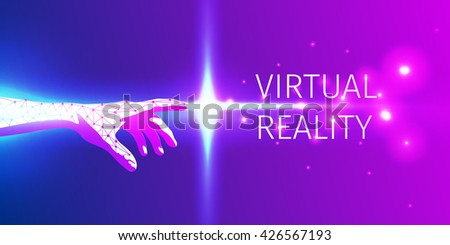 futuristic hand touch of