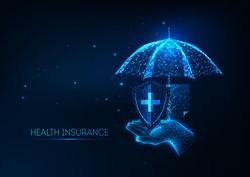 Futuristic health insurance concept with glowing low polygonal hand holding umbrella, protection medical shield and policy document on dark blue background. Modern wireframe design vector illustration