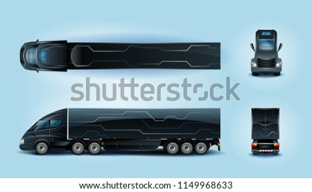 Futuristic Heavy Cargo Truck with Long Wheel Base in Top, Side, Front and Back View Realistic Vector Illustrations Set. Electric Vehicle for Freight Transportation, Innovative and Conceptual Lorry