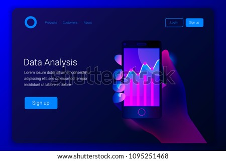 Futuristic hi tech mobile technology concept. Market trend analysis on smartphone with line chart and graphs. Hand holds phone. Design infographic, statistics on screen. Landing page template. Vector.