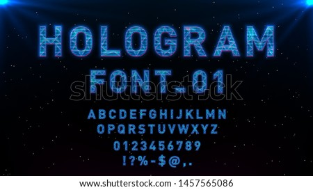 Futuristic Hologram HUD blue vector font design. English alphabet with hologram effect. Digital hi-tech style letters and symbols. Typography design for headlines, labels, posters, cover, music event