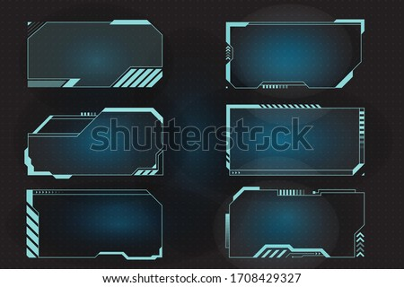 Futuristic HUD frames for call out and control panel. Screen elements set of Sci Fi User Interface for Gaming UX UI. Vector Illustration EPS10