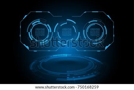 Futuristic HUD virtual screen user interface Abstract technology background Hi-tech communication concept futuristic digital innovation background vector illustration