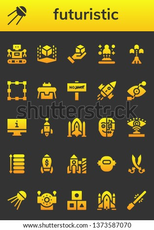 futuristic icon set. 26 filled futuristic icons.  Collection Of - Robot, Sputnik, Cube, Hologram, Spaceship, Transformation, War, Rocket, Bionic eye, Monitor, Cyborg, Eye scan
