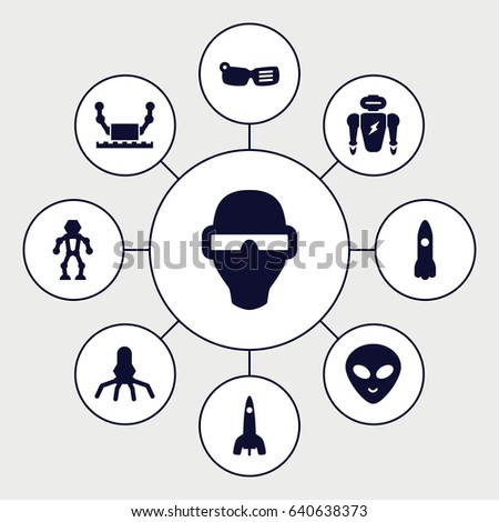 Futuristic icons set. set of 9 futuristic filled icons such as alien head, rocket, man in smart glasses, robot