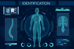 Futuristic identification process flat illustration. Smart recognition system, full body scan. Human digital model, spine and thorax with personal info, stats. High tech medical examination, profiling