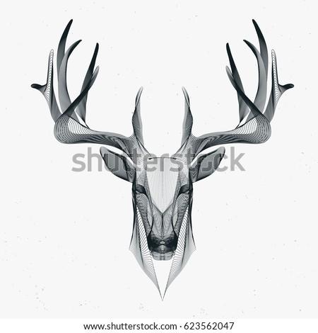 futuristic illustration of deer, wire frame   EZ Canvas