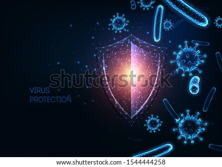 Futuristic immune system protection from infectious diseases concept with glowing low polygonal shield,  coronavirus and bacteria cells on dark blue background. Immunology. Vector illustration.