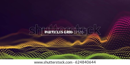Futuristic infographics. Wavy particles grid. Abstract sound wave flow background ストックフォト ©