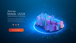 Futuristic infrastructure of a smart night city. Residential urban buildings for isometric innovation flat design. Smart city vector illustration of town with digital communication technology. Vector