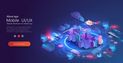 Futuristic infrastructure of a smart night city. Residential urban buildings for isometric innovation. City infrastructure, data traffic,ensure safety. Smart city with digital communication technology