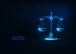 Futuristic justice, law judgement concept with glowing low polygonal balance scales isolated on dark blue background. Modern wire frame mesh design vector illustration.