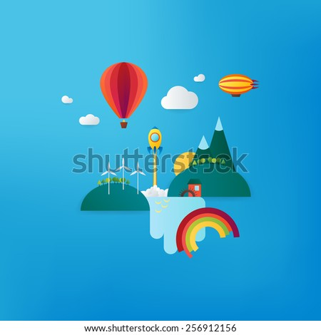Futuristic landscape with balloon, rocket, dirigible, waterfall and mountains. Alternative energy. Renewable energy. Material design