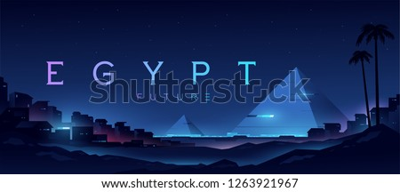 Futuristic landscape with views of the pyramids and the city. Egypt illustration