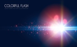 Futuristic Light Effect. Colorful Lens Flare. Star, Explosion and Electric Power Design. Vector illustration